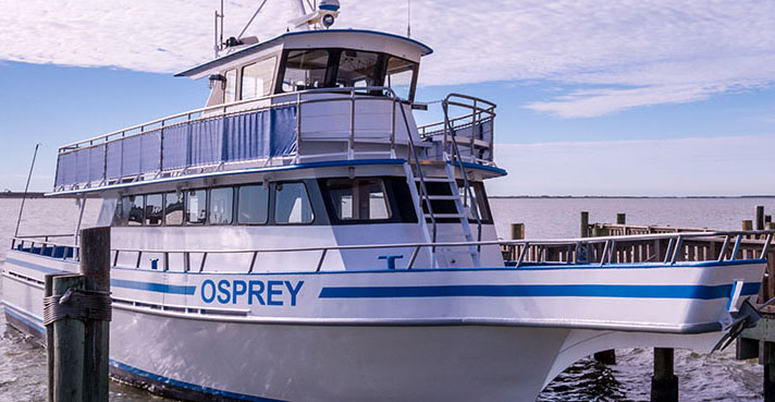 Here is a look at the bow of the newly renovated Osprey. Seating has been added on the upper bow deck and height has been added for safety to the upper deck railing.