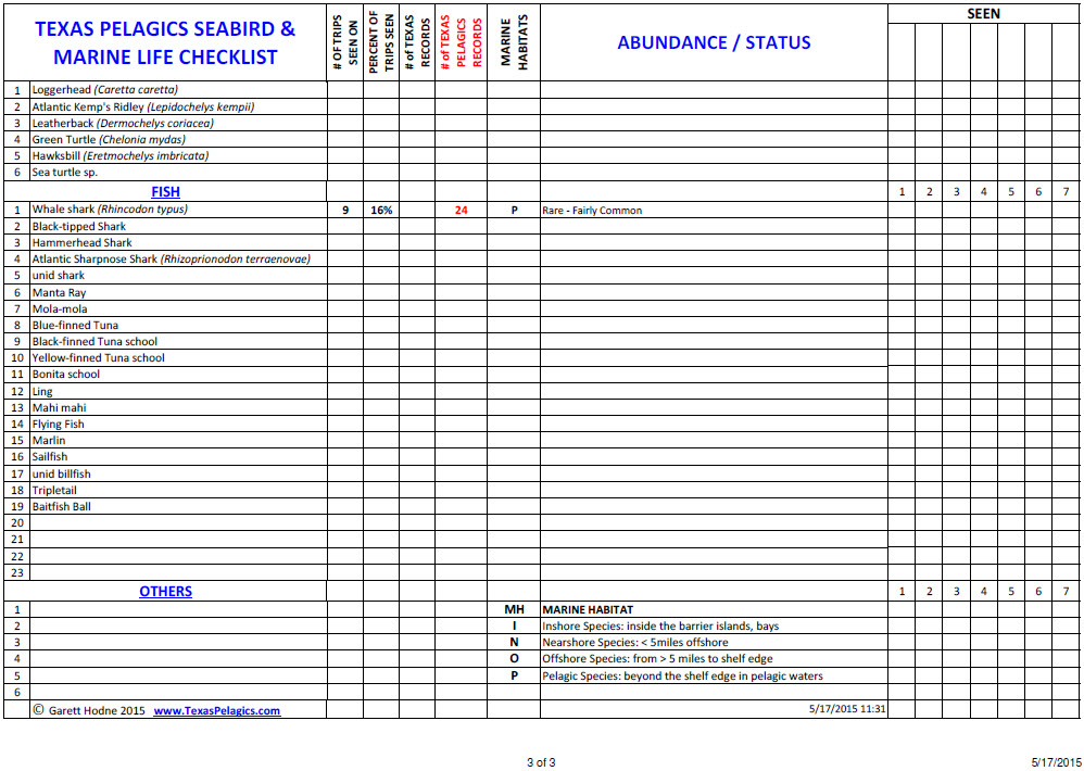 Texas Pelagics Seabird & Marine Mammal checklist p3